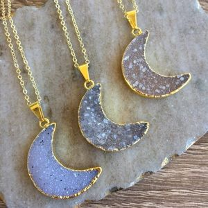 Simple Sanctuary Jewelry - 💫Druzy Half Moon Crescent Necklace🌙