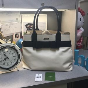 kate spade Handbags - Kate Spade Cream & Navy All Leather Bag, authentic