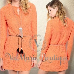 Gorgeous Orange Lace Overlay Dress