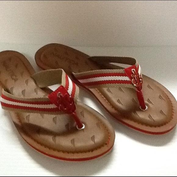 fb918a1f546 Nautical Red  Tan Flip Flops