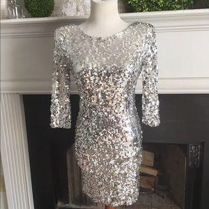 Blaque Label Dresses & Skirts - Silver Sequin body con dress New  Blaque Label S