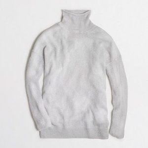 JCREW Ice Gray Drop Shoulder Turtleneck Sweater