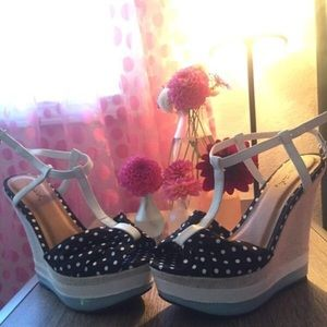 T-Strap Wedges Never worn