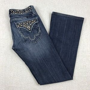 Miss me boot cut bling started flap pocket jeans