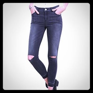 Express Denim - Distressed High waisted released hem ankle jeans