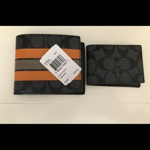 Coach Other - Coach Charcoal/Orange Compact ID Wallet