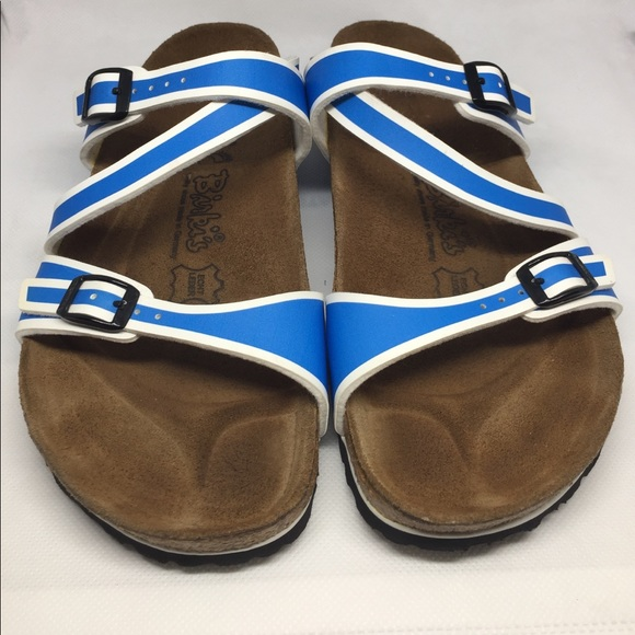 0c4dfffbdad Birkenstock Shoes - Birkenstock Birki s Salina blue and white
