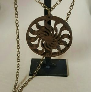 Handmade Walnut Cosmic Wheel Necklace