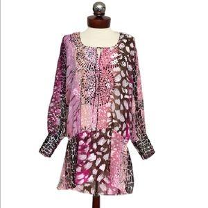 BCBGMaxAzria Tops - 🆕 BCBG $180 sheer sequin peasant top max azria