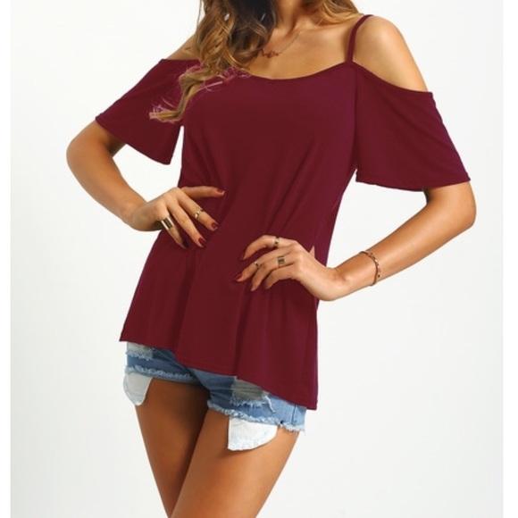c25658beb5114 Brand New Stylish Burgundy Cold Shoulder Shirt