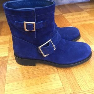 Jimmy Choo Shoes - Authentic Jimmy Choo Navy Suede Biker Boots