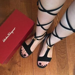 Ferragamo Black Suede 6.5 Sandals ❤️ AUTHENTIC