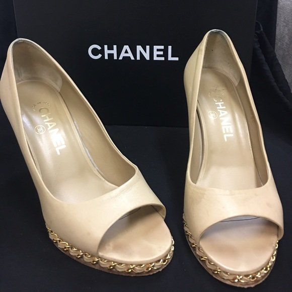 44a94d7f86b7 CHANEL Shoes - Chanel Open Toe Wedges