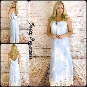 Pretty Persuasions Dresses & Skirts - NWT Sky Blue & Crochet V-Back Maxi Dress