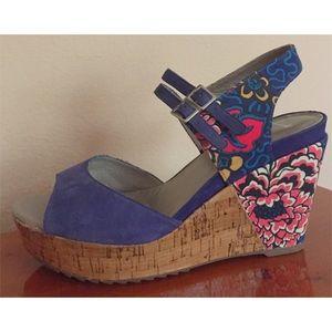 Clarks Shoes - Clarke Softwear suede, floral wedge