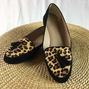 Vince Camuto Leopard Calf Hair Suede Tassel Flats