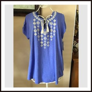 Style & Co Tops - Style & Company Embellished Tie Front Boho Top