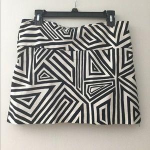 Express Black and White Mini Skirt Mod Stripe
