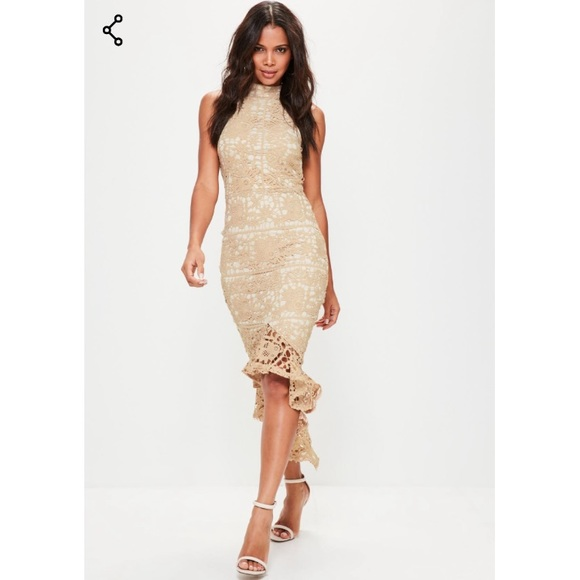 90bf2755a7498 Missguided Dresses | Nude Lace High Neck Fishtail Midi Dress | Poshmark