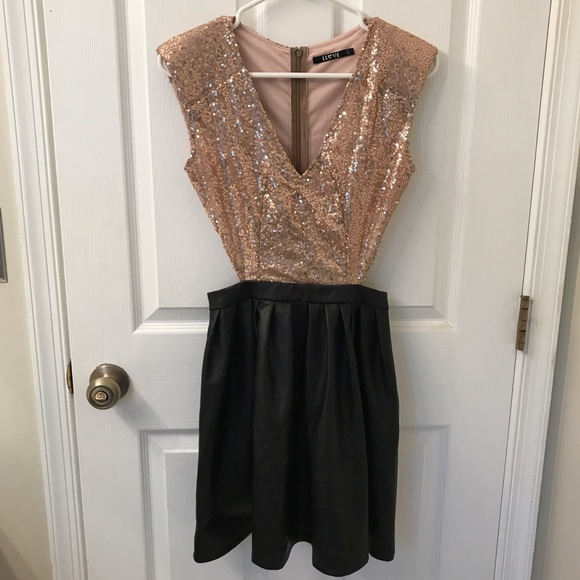 L Love Dresses & Skirts - Sequin and Pleather Cut Out Dress