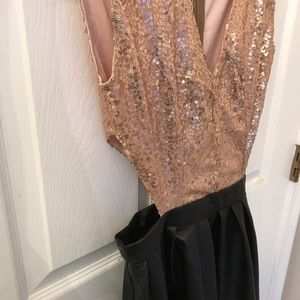 L Love Dresses - Sequin and Pleather Cut Out Dress