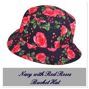 Navy w/ Red Roses Bucket Hat