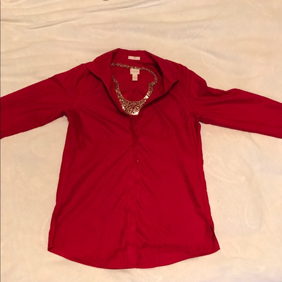 73 off chico 39 s tops chico 39 s size 1 red ls no iron for Chicos no iron shirts