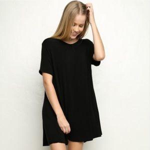 Brandy Melville Dresses & Skirts - •Brandy Melville Black Faux Suede Shift Dress•
