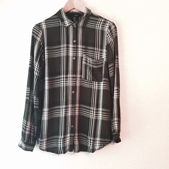 50 Off Forever 21 Tops Forest Green Plaid Long Sleeve