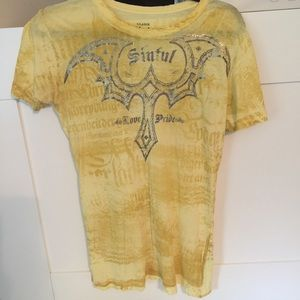 Sinful Tops - Yellow Sinful t shirt
