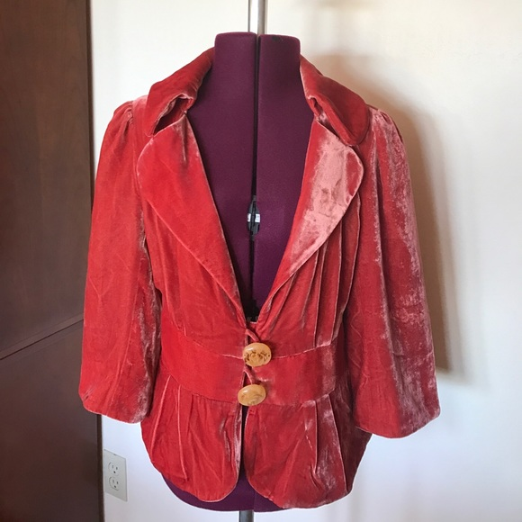 Anthropologie Jackets & Coats - Elevenses Crushed Orange Rust Velvet Jacket 8