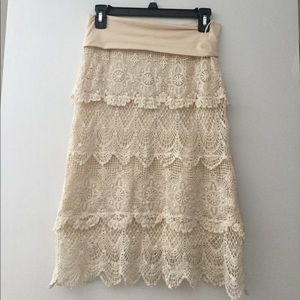 Crochet Knit Doily Skirt Dress