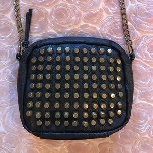 Lulu Handbags - Black cross body purse gold studs chain strap