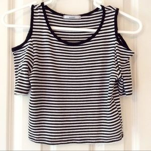 Acemi Tops - B&W White Striped Cold Shoulder Top