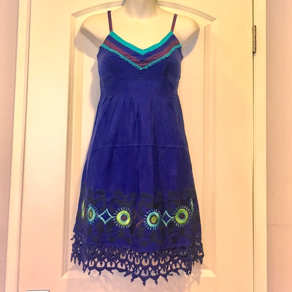 a7ec060c27 NEW 100% Silk royal blue embroidered summer dress