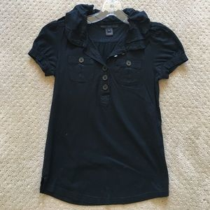 Marc by Marc Jacobs black ruffle polo