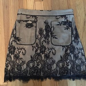 Abercrombie & Fitch Dresses & Skirts - black lace skirt with nude underlay