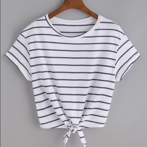 Zara Tops - Striped crop top with knot front size Small BNWT