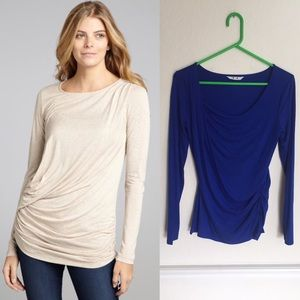 Three Dots Tops - Three Dots Blue Jersey Cinched Side Long Sleeve