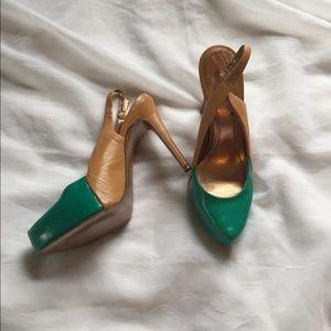 BCBGeneration Shoes - BCBGeneration teal and camel slingback heels, 8b