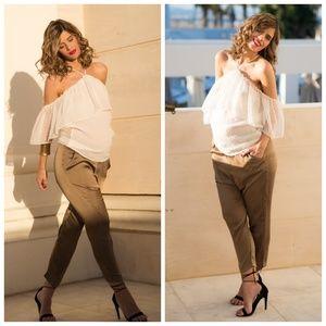 Zara Pants - Zara Olive Green Silky Baggy Trousers