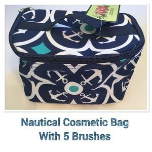 Nautical Design Cosmetic Bag w/Brushes