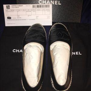 CHANEL Shoes - CHANEL Black Leather Espadrilles