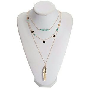 Boho Gypsy Sisters Jewelry - Triple Layer Boho Feather Necklace