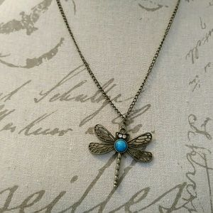 Vintage Dragonfly Turquoise Necklace