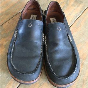 OluKai Other - OluKai Moloa Black Leather Slip-on Shoes Size 9