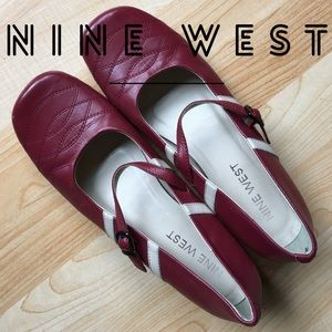 Nine West Red Leather Stripe Maryjane heels