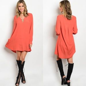 Love Riche Dresses & Skirts - 🆕 Rust Orange Long Sleeve Rings Tunic Dress