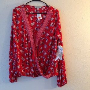 Almost Famous Tops - NWT XL Almost Famous Draped Front Blouse