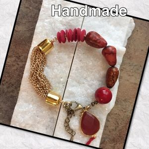 emmabells Jewelry - 🙋🏻🎨Handmade  Agate, Coral, and gold bracelet